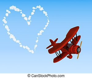 biplane sky writing a heart - 3D render of a biplane sky...