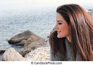beautiful woman by the sea