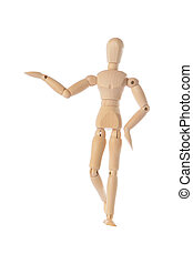 Wooden figure raising arm ,hand and introduce - Wooden...
