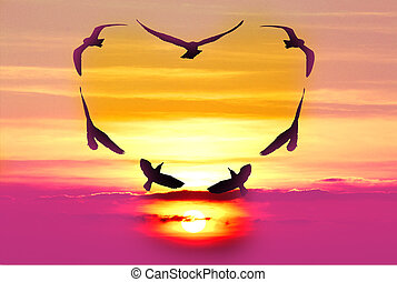 Valentine bird with pink sky