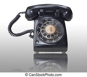 Old telephone with isolated background - Old telephone with...