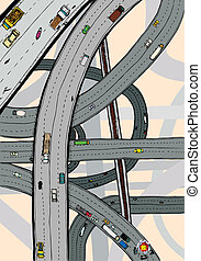 Twisted Highways - Highways and junctions with cars, trucks...