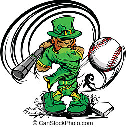 St Patricks Day Leprechaun Swingin - Baseball Cartoon...