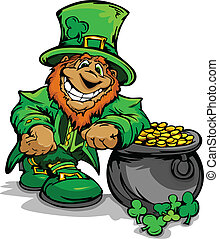 Smiling St. Patricks Day Leprechaun - Happy Cartoon...