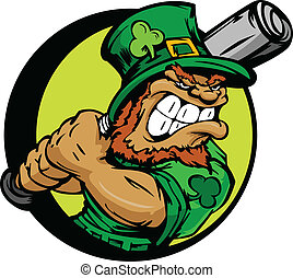 St Patricks Day Leprechaun Holding - Baseball Cartoon...