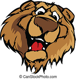 Smiling Cartoon Bear Mascot Vector - Bear Mascot with Cute...