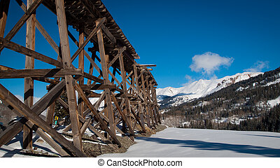 Old Mine - Red mountain and Yankee Girl Mine near Ouray,...