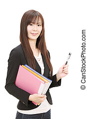 Young asian businesswoman holding a file document