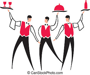 Waiter service - Vector cartoon waiters with dish bottle and...