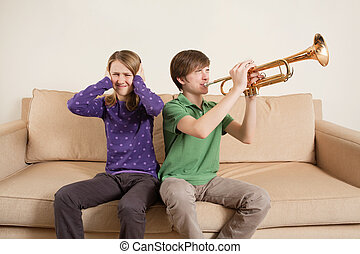 Playing trumpet badly - Photo of a brother playing his...