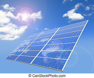 sunlight ,blue sky and white cloud reflection on Solar Panel