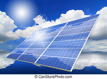 Solar Panel with reflection of blue sky ,white cloud and sun