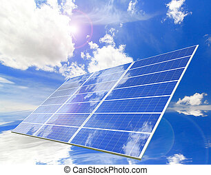 Solar Panel with reflection of blue sky and white cloud