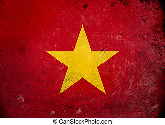 Grunge Flag Vietnam - Flag on old and vintage grunge texture