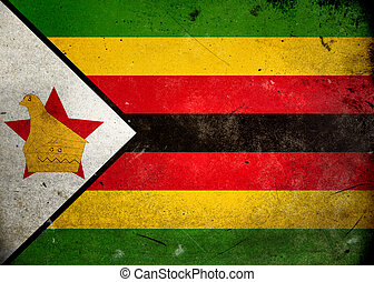 Grunge Flag Zimbabwe - Flag on old and vintage grunge...