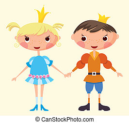 Prince and Princess - Cartoon prince and princess EPS10...