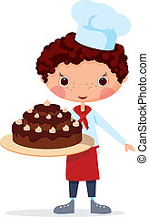 Scullion with cake EPS10. Contains transparent objects used...