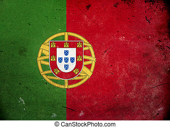 Grunge Flag Portugal - Flag on old and vintage grunge...