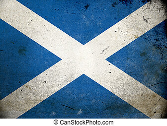 Grunge Flag Scotland - Flag on old and vintage grunge...