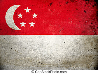 Grunge Flag Singapore - Flag on old and vintage grunge...