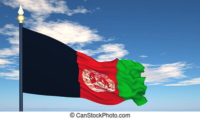 Flag Of Afghanistan on the background of the sky and flying...