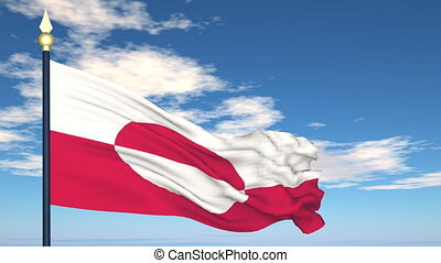 Flag Of Greenland on the background of the sky and flying...