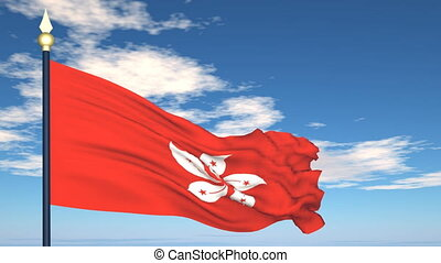 Flag Of Hong Kong on the background of the sky and flying...