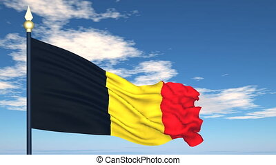 Flag Of Belgium on the background of the sky and flying...
