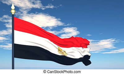 Flag Of Egypt on the background of the sky and flying clouds...