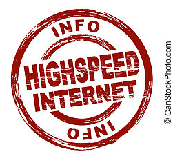 Stamp - highspeed internet - Stylized red stamp showing the...