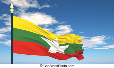 Flag Of Myanmar on the background of the sky and flying...