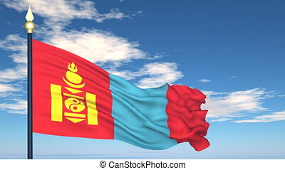 Flag Of Mongolia on the background of the sky and flying...