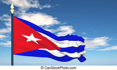 Flag Of Cuba on the background of the sky and flying clouds