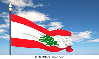 Flag Of Lebanon on the background of the sky and flying...