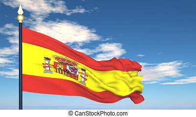 Flag Of Spain on the background of the sky and flying clouds...