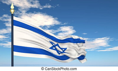 Flag Of Israel on the background of the sky and flying...