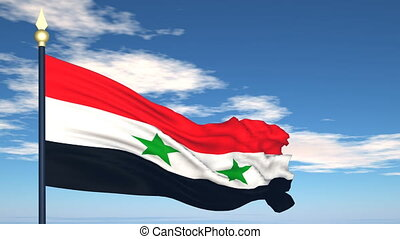 Flag Of Syria on the background of the sky and flying...