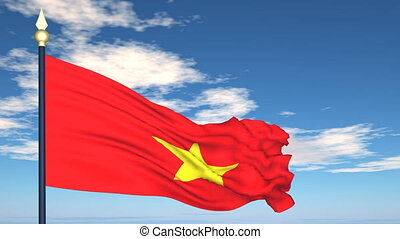 Flag Of Vietnam on the background of the sky and flying...