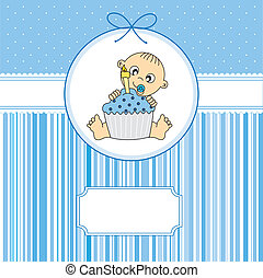 baby boy with a birthday cake. greeting card