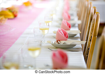 Reception or wedding table ready, horizontal
