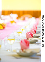 Reception or wedding table ready, farther focus