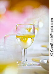 Toast drink on a wedding or reception table, copy space,...