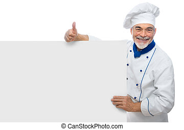 handsome chef - Chef presenting Isolated on white background...