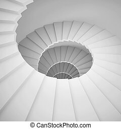 Spiral Staircase - 3d Illustration of White Spiral Staircase...