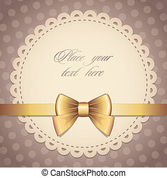 vintage frame with gold bow and brown background