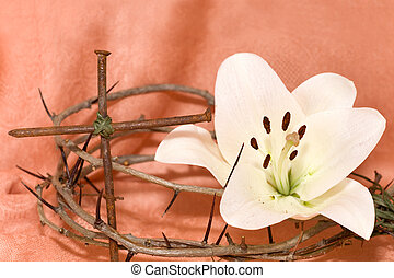 Crown of Thorns, crucifix and Easter white Lily on Beige...