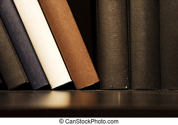 book on shelf - a close up shot of book on shelf, indoor...