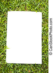 blank white flyer on grass, to replace with own images or...