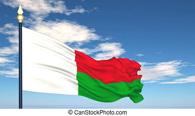 Flag Of Madagascar on the background of the sky and flying...