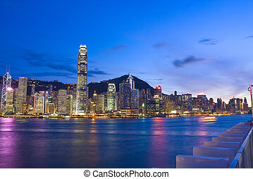 Magic hour of Kowloon Peninsula in Hong Kong